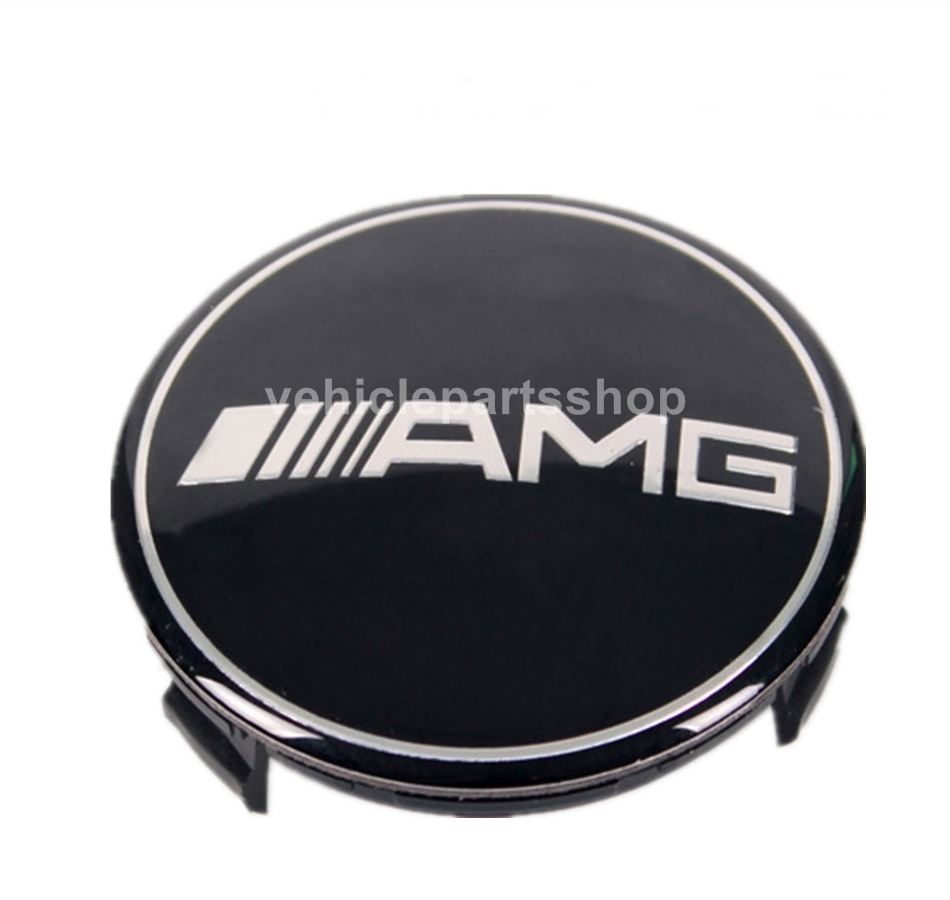 Mercedes amg black wheel center cap 75mm set of 4 pcs for Mercedes benz wheel cap emblem